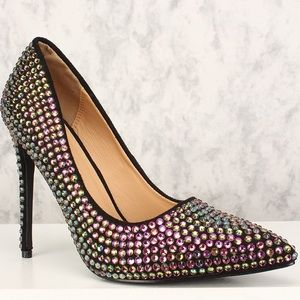 BNIB Multicolor jeweled pointy toe pump